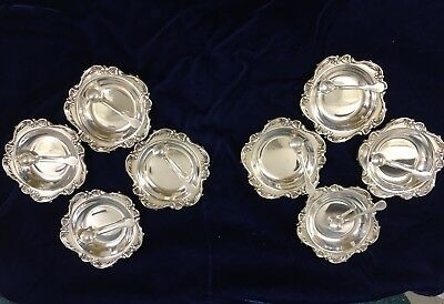 Great Vintage Sterling Silver by Camusso Peru Set - 8 Open Salt Cellars & Spoons