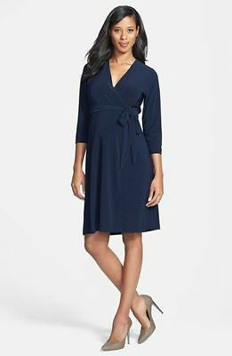 NWT Japanese Weekend Luxe Jersey Wrap Maternity Dress, Navy