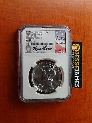 2017 $25 Palladium Eagle Ngc Ms70 Lyndall Bass First Day Of Issue Label Fdi