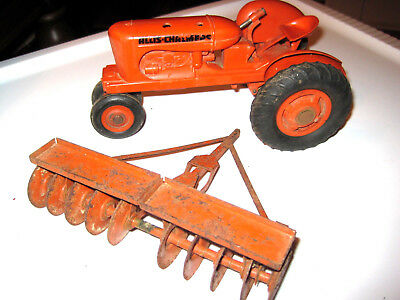 Rare Vintage Allis Chalmers Toy Tractor with Disc Disk Harrower