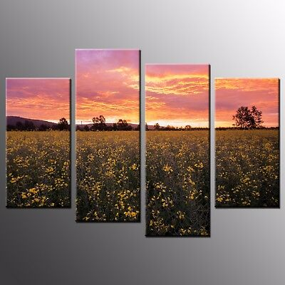 Landscape Canvas Prints Wild Flowers Canvas Wall Art Painting Home Decor-4pcs