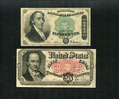 U.S Fractional Currency Lot-2 different-Allison,5th ex & Dexter,3rd ex, clean