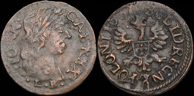POLAND. Jan of Casimir Hammered Solidus, Regal Eagle, dated 1661