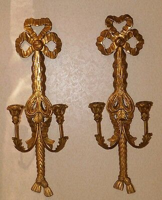 """Vintage Italian Florentine Gold Gilt Candle Sconce Pair 27"""" Marked Made In Italy"""