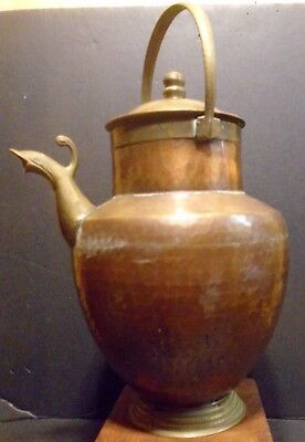 Arts &Crafts Period Hand Hammered Brass & Copper Pitcher-Fish Head Spout-Italy