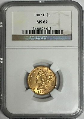 1907 D $5 Gold Liberty Half Eagle NGC MS62