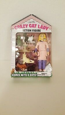 Crazy Cat Lady Action Figure Comes with 6 Cats New