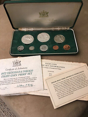 1972 8 PC TRINIDAD AND TOBAGO silver proof coin set original box 3 DAY AUCTION
