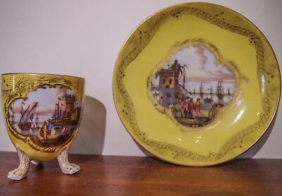 19th Century Meyer & Sons Dresden Yellow Porcelain ~ Two Original Antiques