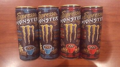4x Monster Energy Java Espresso Cans - Vanilla & Espresso+Cream - New & Full