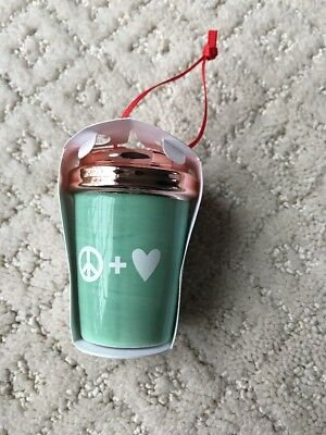 NEW Starbucks 2017 Peace + Love Cup Holiday Christmas Tree Ornament