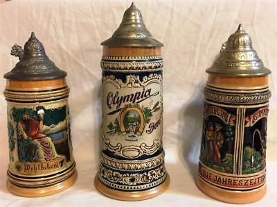 LOT of 3 - CERAMIC STEINS FROM GERMANY, W. GERMANY, OTHER PEWTER LIDS ~ EUC