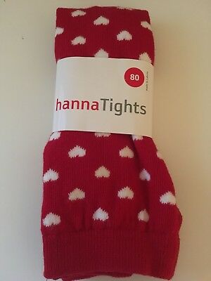 NEW Hanna Andersson BABY TIGHT APPLE RED White Stripe Hearts Tights Size 80