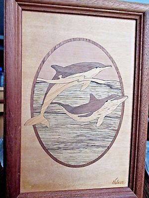 Vintage Hudson River Wood Inlay Dolphin Marquetry Art Picture Signed Nelson*