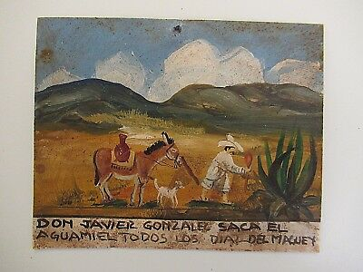 VTG 1970's SMALL MEXICAN HP TIN RETABLO DON JAVIER GONZALEZ COLLECTS AGAVE JUICE