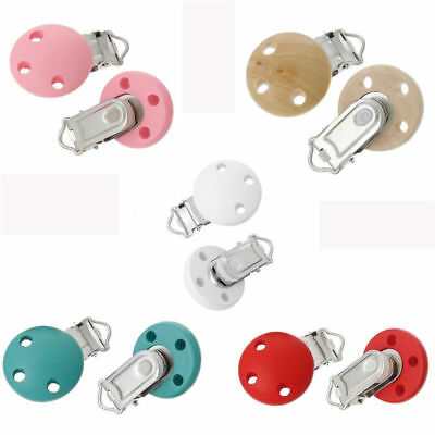 Colorful Wooden Clip Round Holes Dummy Suspender Infant Baby Pacifier Exquisite