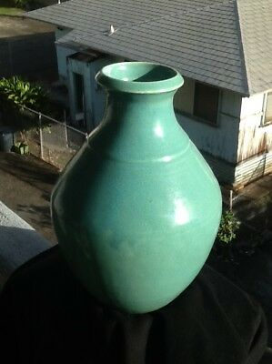 Antique Arts and Crafts Vase Seafoam Green Trenton(?) *Signed & Mint Condition!