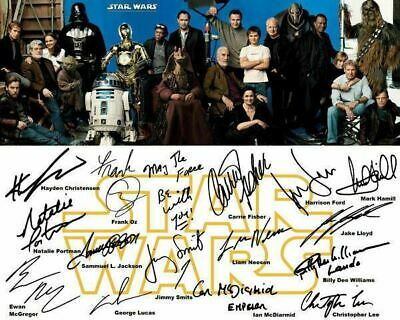 Star Wars Retro Carrie Fisher Harrison Ford Cast Signed Photo Autograph Reprint