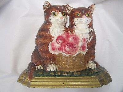 Vintage Cast Iron Double Cat Doorstop Large Heavy old ornate Roses Painted Two 2