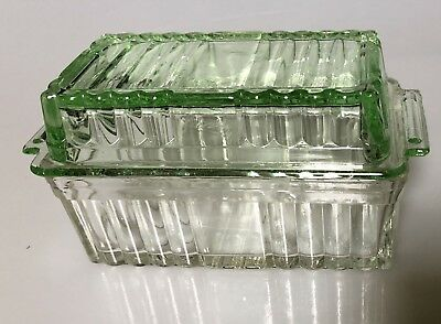 Depression Glass Butter Container - Green And Clear Glass In Vg Cond. Rectangle