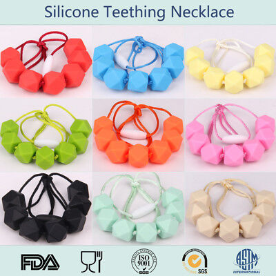 Baby Teething Necklace Teether Polygon Silicone Beads Safe Kids Jewelry BPA-Free