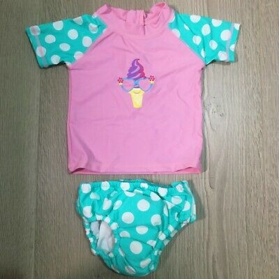 Baby Toddler Girls Swimsuit Rashsuit Togs Rash Suit with Built-in Swim Nappy 50+