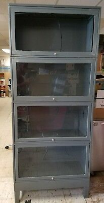 Vintage Globe Wernicke Metal Glass Barrister  Shelf Bookcase Cabinet