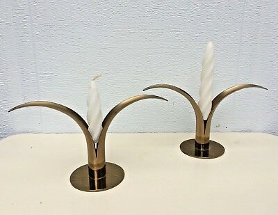 Pair Set Of 2 Vtg Mid Century Ystad Metall Sweden Lily Brass Candle Holders