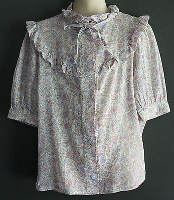VINTAGE 1970s Girls Liberty Look Pink White Floral Blouse w Frills Neck Tie ~ 5