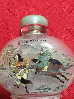 Antique Double Size Reverse Inside Painted Chinese Scenes Snuff Bottlep