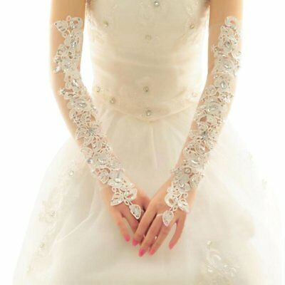 White Exquisite Wedding Gloves Bride Bridal Wedding Dress Lance Gloves