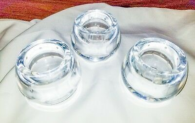 "Kate Spade/Lenox LARABEE DOT 3"" Barrel Shaped Crystal Candle Holders Set of 3"