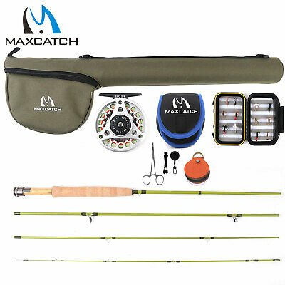 Maxcatch 1/2/3wt Fly Fishing Rod Combo, Rod, Reel, Line, Box and Flies Outfit