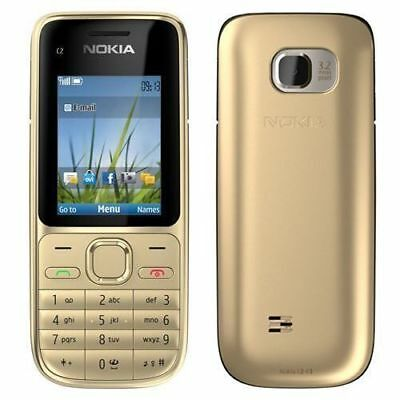 USA Seller! Nokia C2-01 RM-721 Gold Unlocked Bluetooth 3.2MP Camera Mobile Phone