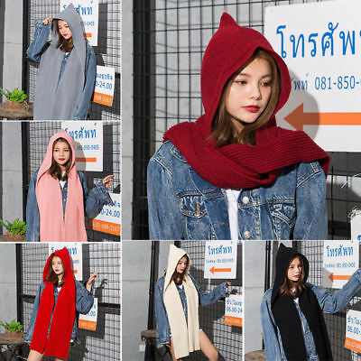 Knitted Cap Scarves Women Winter Autumn Hat Cloak Hooded Neckerchief Scarf A0485
