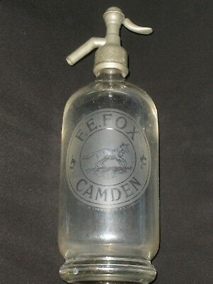 VINTAGE Etched Glass F.E. FOX Camden ANTIQUE Advertising SODA SYPHON BOTTLE