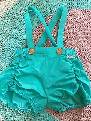 Brand New Lana Berry Girls Handmade Turquoise Suspender Shorts - Size 4