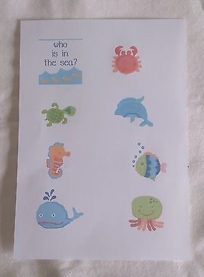 Who is in the Sea cross stitch babybook by Caronie 14ct charts for 8 pages
