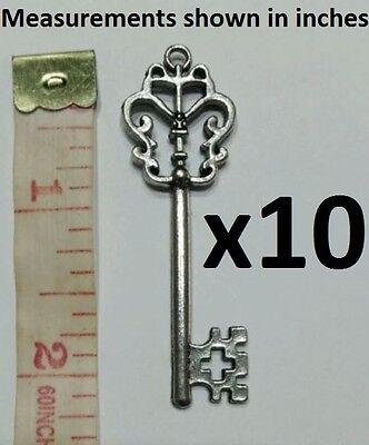 Silver KEY CHARMS PENDANTS Old Antique Vintage Keys Crafts Jewellery Alice Metal