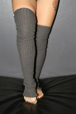 Pole Dance Gym Extra long Stirr-up Knit Legwarmers Charcoal