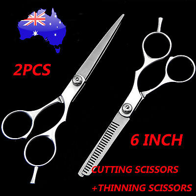 "6"" Professional Hair Cutting Thinning Scissors Shears Hairdressing Set Salon AU"
