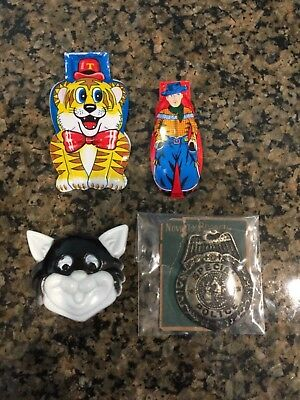Vtg Lot of 4 - Tin Litho CLICKER Noisemaker, NOS, Never Used & 1940s Badge! #3