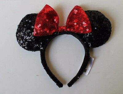 Disney Parks Black Sequin Minnie Ear Headband Red Bow NEW