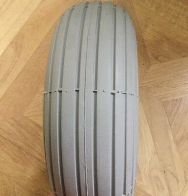 Pair Of Grey Rib Solid Puncture Proof 3.00 X 4 260 X 85 For Mobility Scooter