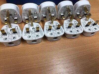 10 x Standard UK Fused 13A WHITE Mains 3 Pin Houshold Plugs c/w 13A Fuse Fitted
