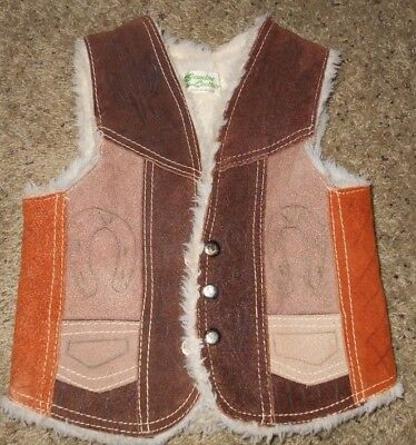 Genuine Leather Children's Suede Western Snap Front Sherpa Lined Vest Size 8