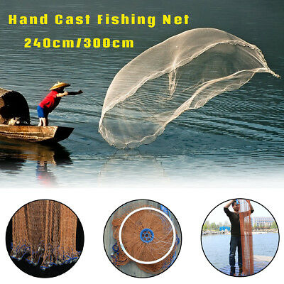 "94""/118"" Brown Hand Cast Fishing Net Spin Network Bait Small Trap Net w/Sinker"