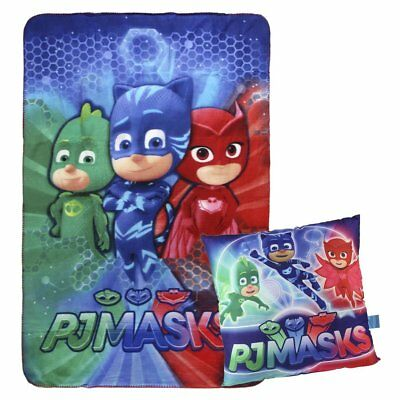 Pj Masks Super Pigiamini 2200-2437 Set Coperta Plaid + Cuscino, Pile, Bambino, M