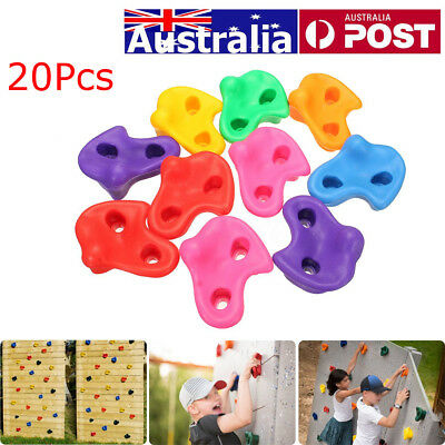 AU 20x Textured Climbing Rock Wall Stones Holds Hand Feet Kids Assorted Bolt Set