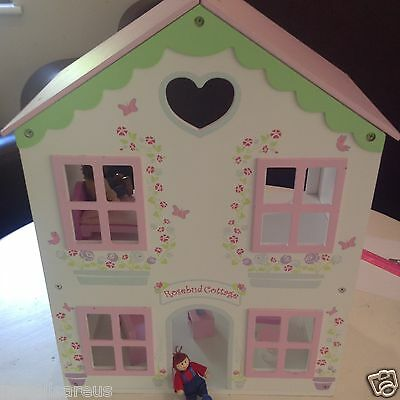 ELC wooded Rosebud Cottage dolls house & furniture Early Learning Centre